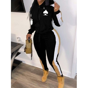 LW Plus Size Hooded Collar Striped Tracksuit Set