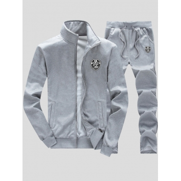 Lovely Casual Zipper Design Grey Men Two-piece Pan