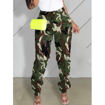 Lovely Casual Camo Print Green Jeans
