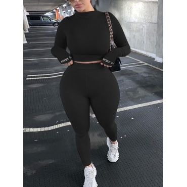 Lovely Casual Letter Skinny Black Plus Size Two-pi