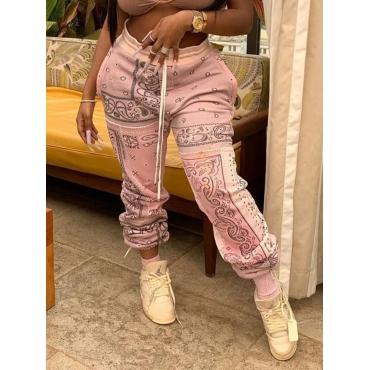 Lovely Street Print Pink Pants