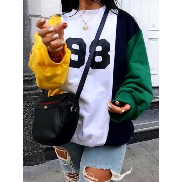 Lovely Casual O Neck Print Patchwork Yellow Hoodie