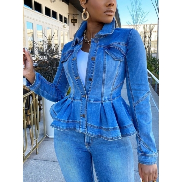 Lovely Stylish Turndown Collar Flounce Design Blue