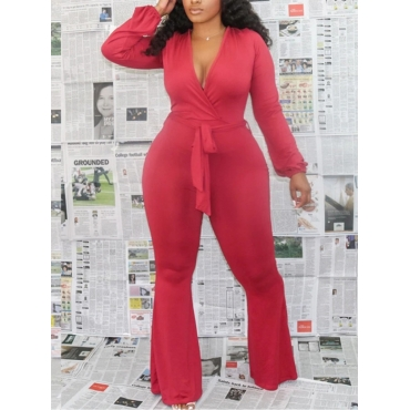 Lovely Leisure V Neck Lace-up Red Plus Size One-pi