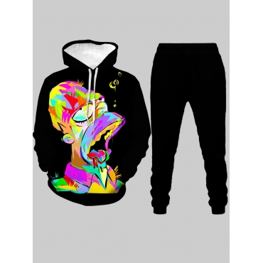 Lovely Street Hooded Collar Print Multicolor Men T