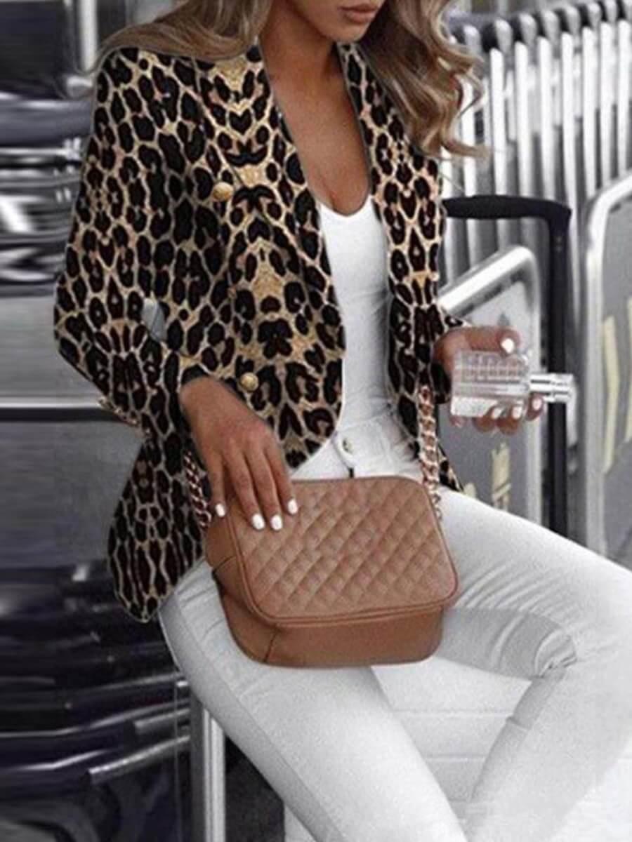 Lovely Stylish Turn-back Collar Leopard Print Khak