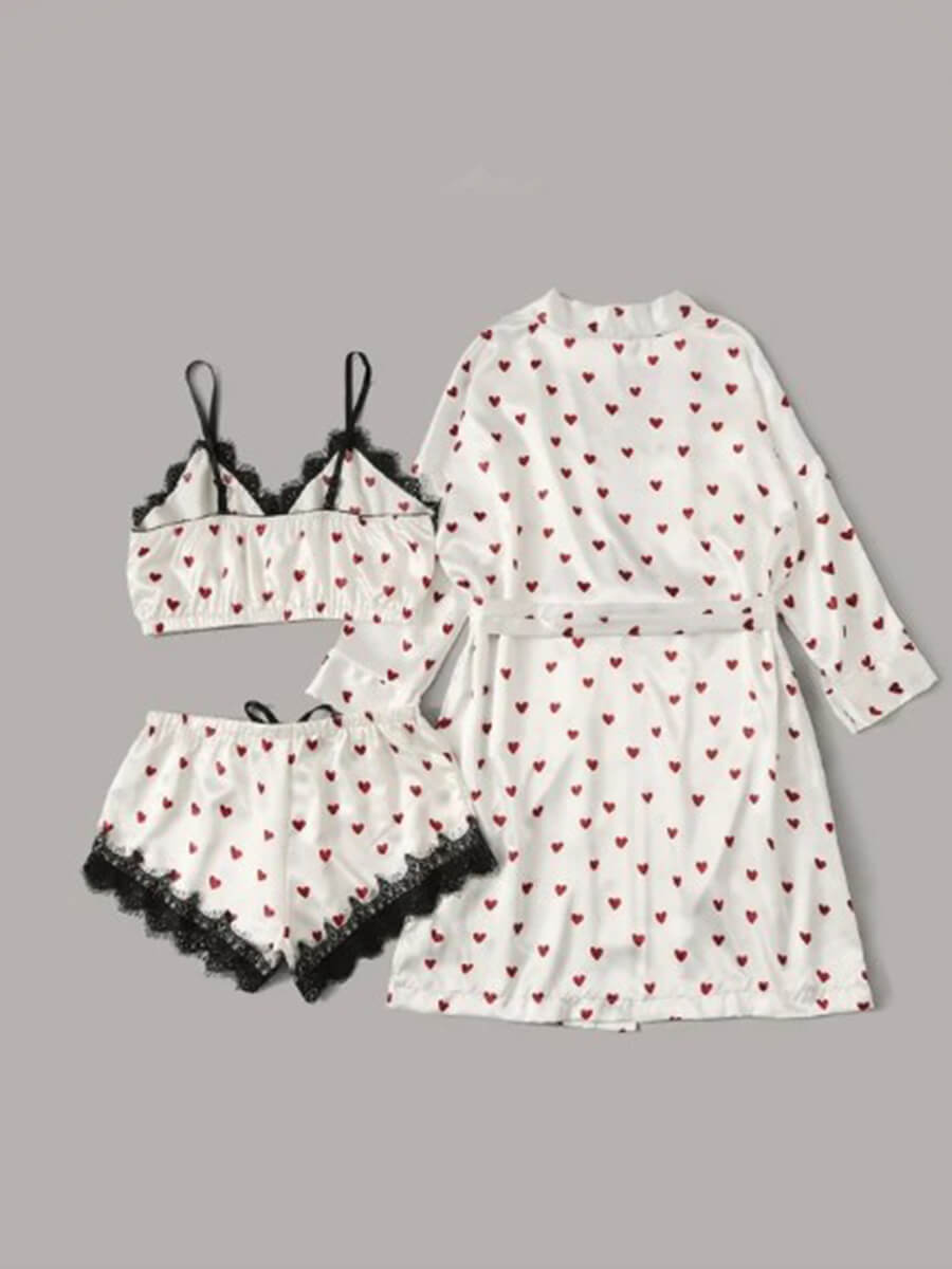 Lovely Casual Lace Patchwork White Sleepwear