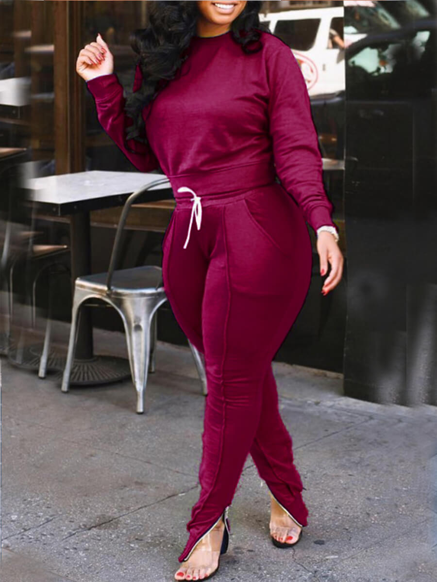 Lovely Sportswear O Neck Patchwork Wine Red Plus S