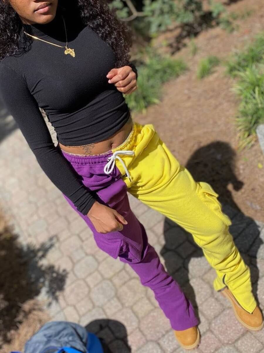 Lovely Street Patchwork Purple Pants