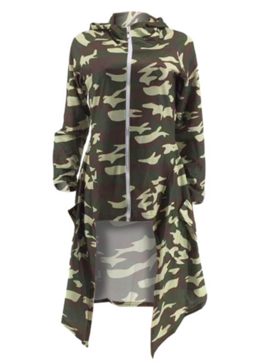 Lovely Casual Hooded Collar Camo Print Asymmetrica