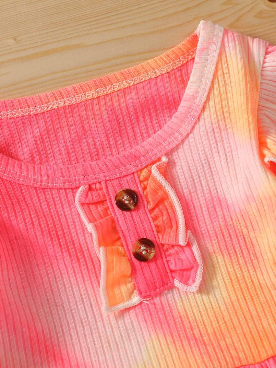 Lovely Trendy O Neck Tie-dye Rose Red Girl Two-pie