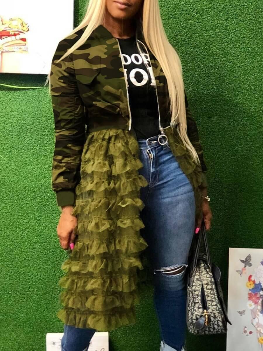 Lovely Trendy Camo Print Patchwork Green Long Coat