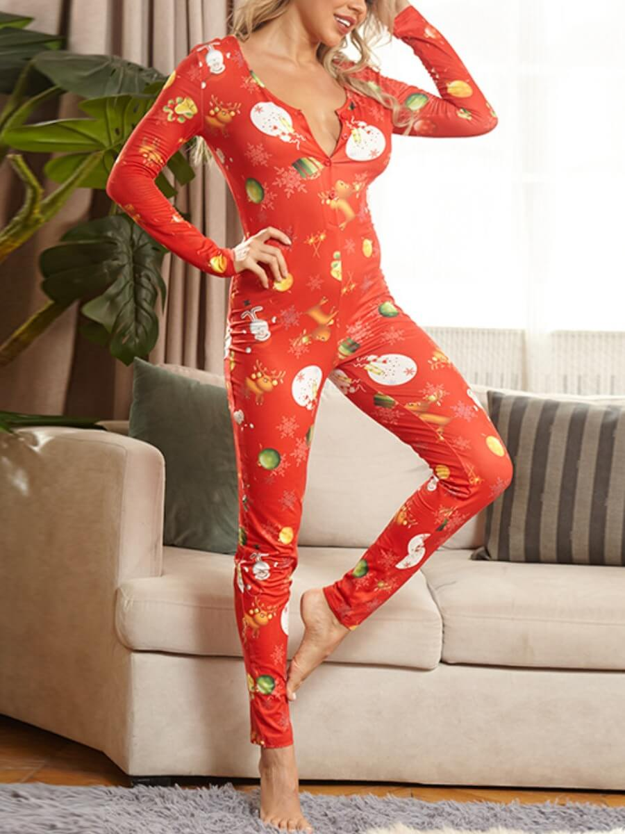Lovely Leisure Print Red Plus Size One-piece Jumps