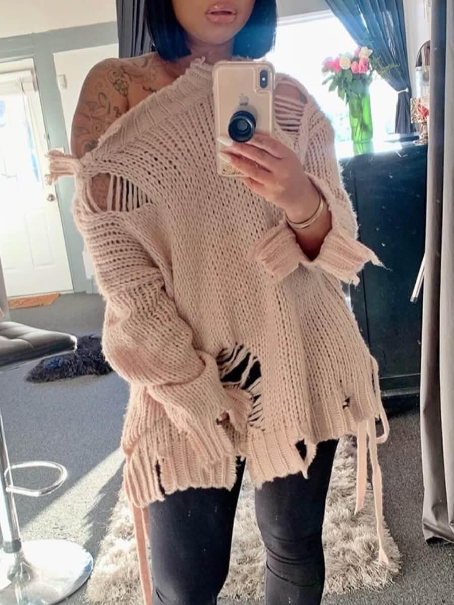 lovely Street Broken Holes Apricot Sweater