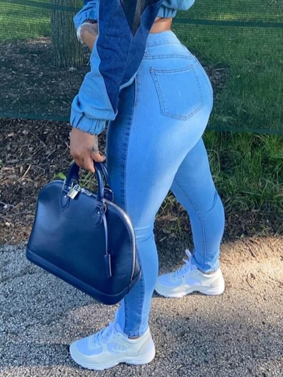 Lovely Casual High-waisted Patchwork Blue Jeans