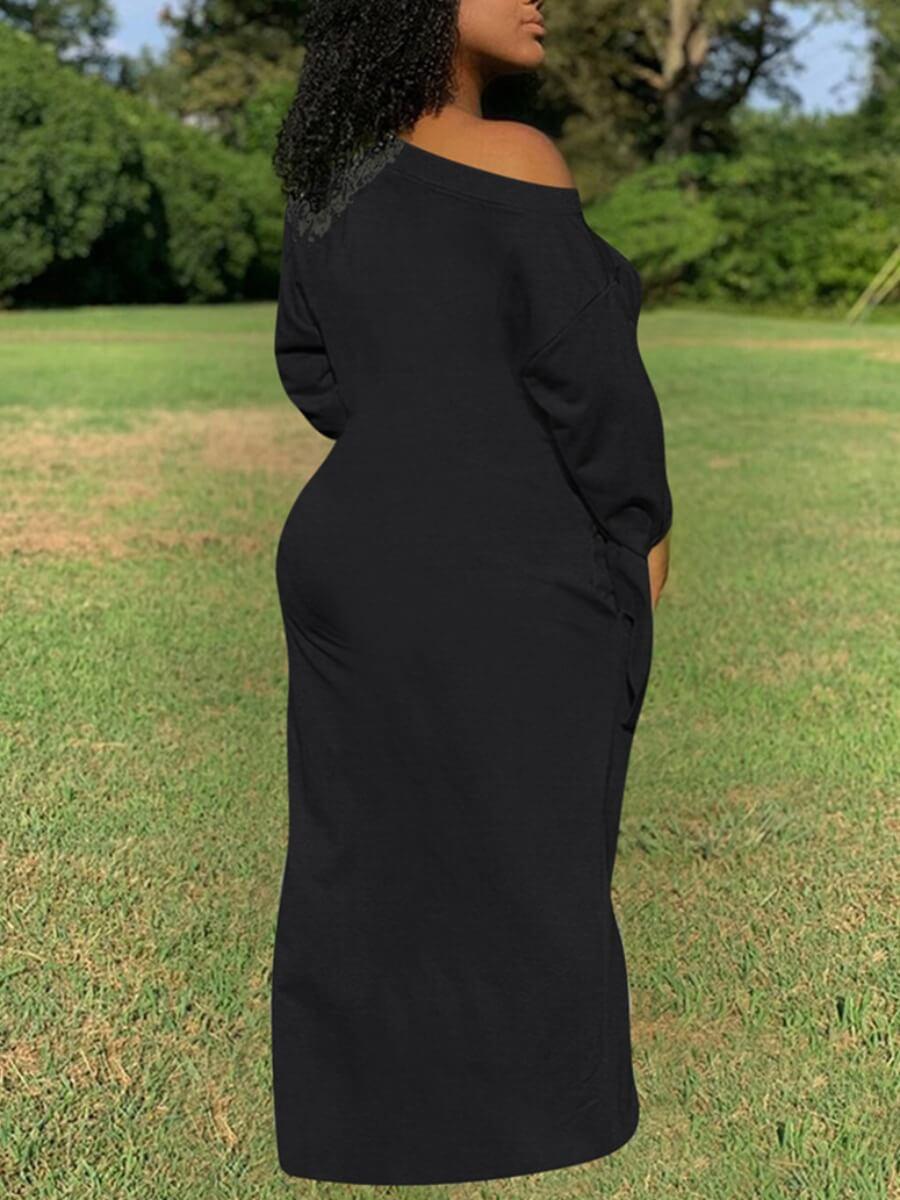 Lovely Casual Basic Loose Black Maxi Plus Size Dress