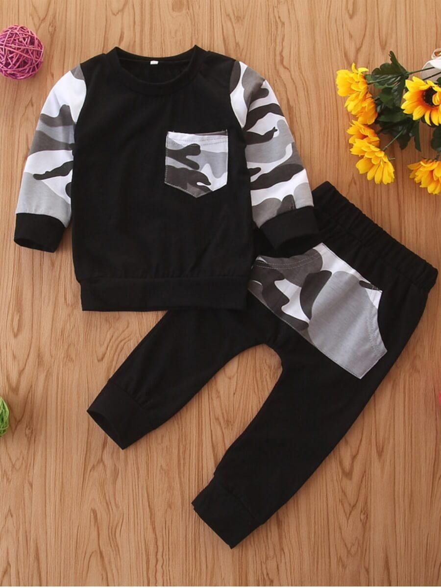 Lovely Sportswear O Neck Camo Print Patchwork Boy