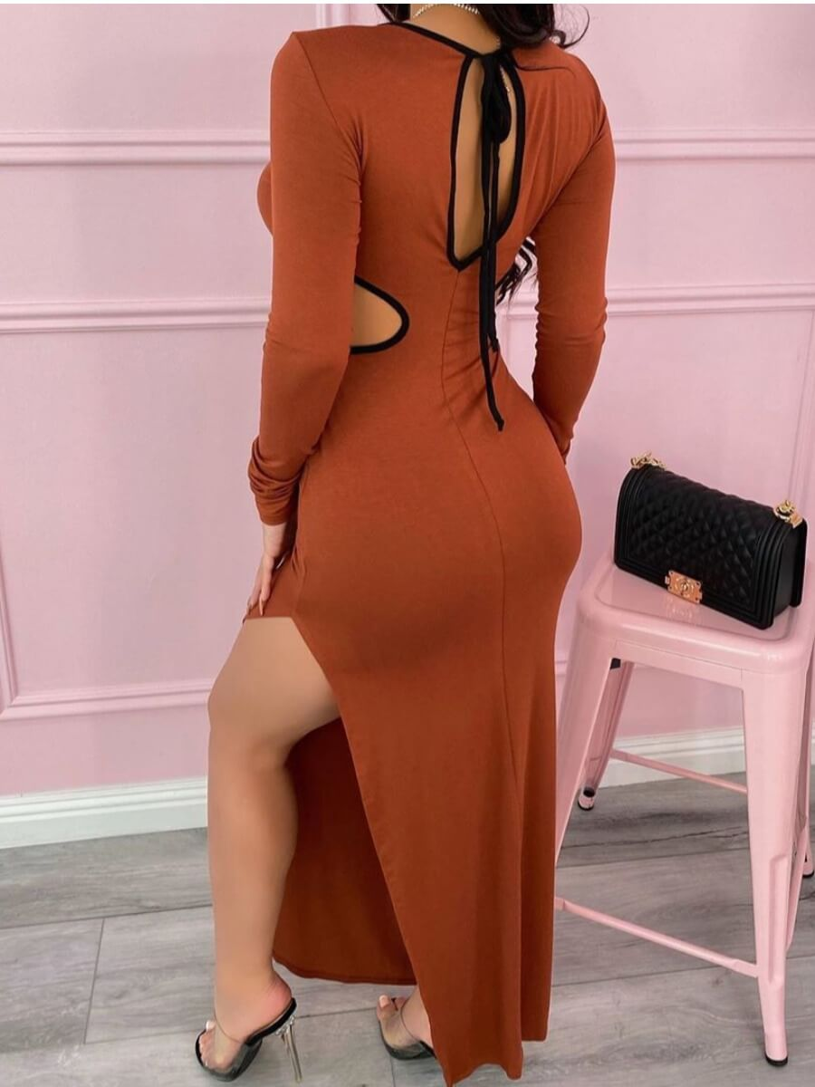 lovely Sexy O Neck Lace-up Dark Brown Maxi Dress