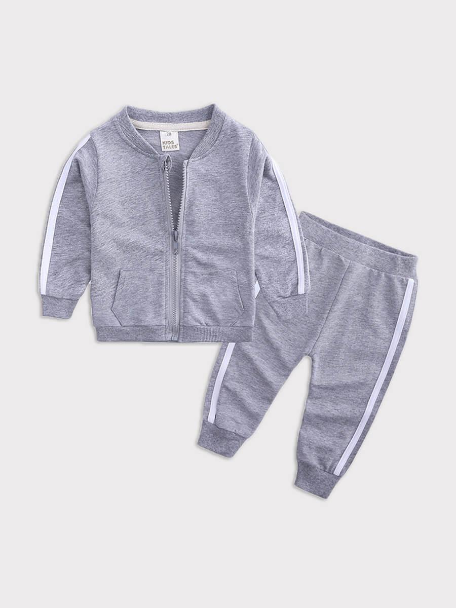 Lovely Sportswear Patchwork Zipper Design Grey Gir