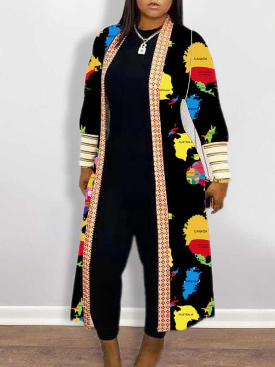 Lovely Casual Print Patchwork Black Long Trench Co