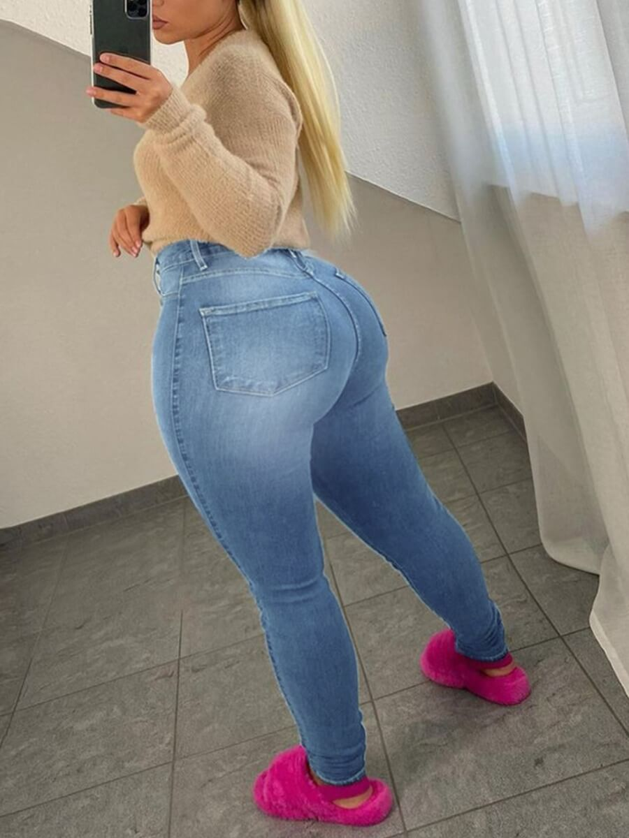 Lovely Trendy Lip Print Blue Plus Size Jeans