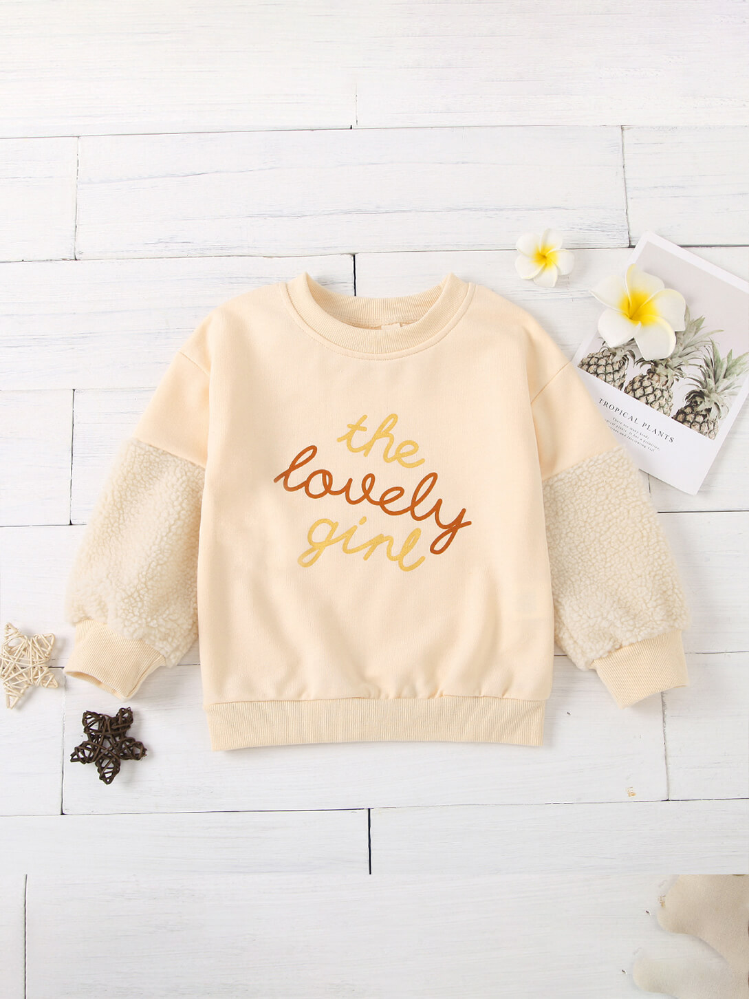 LW Lovely Casual O Neck Letter Print Beige Girl Hoodie
