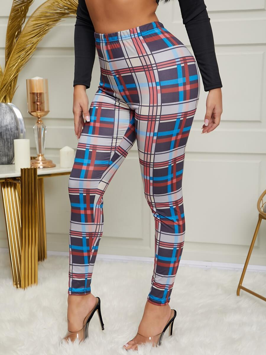 Lovely Stylish Grid Print Skinny Red And Black Pan