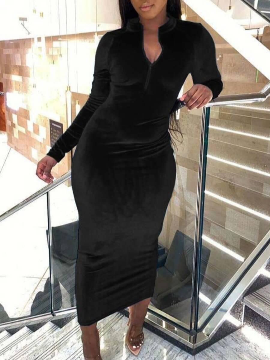 Lovely Casual Mandarin Collar Zipper Design Black Ankle Length Dress