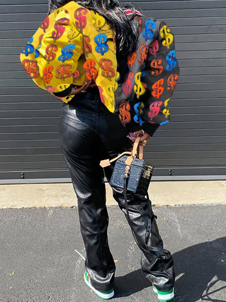 Lovely Street Print Patchwork Multicolor Coat