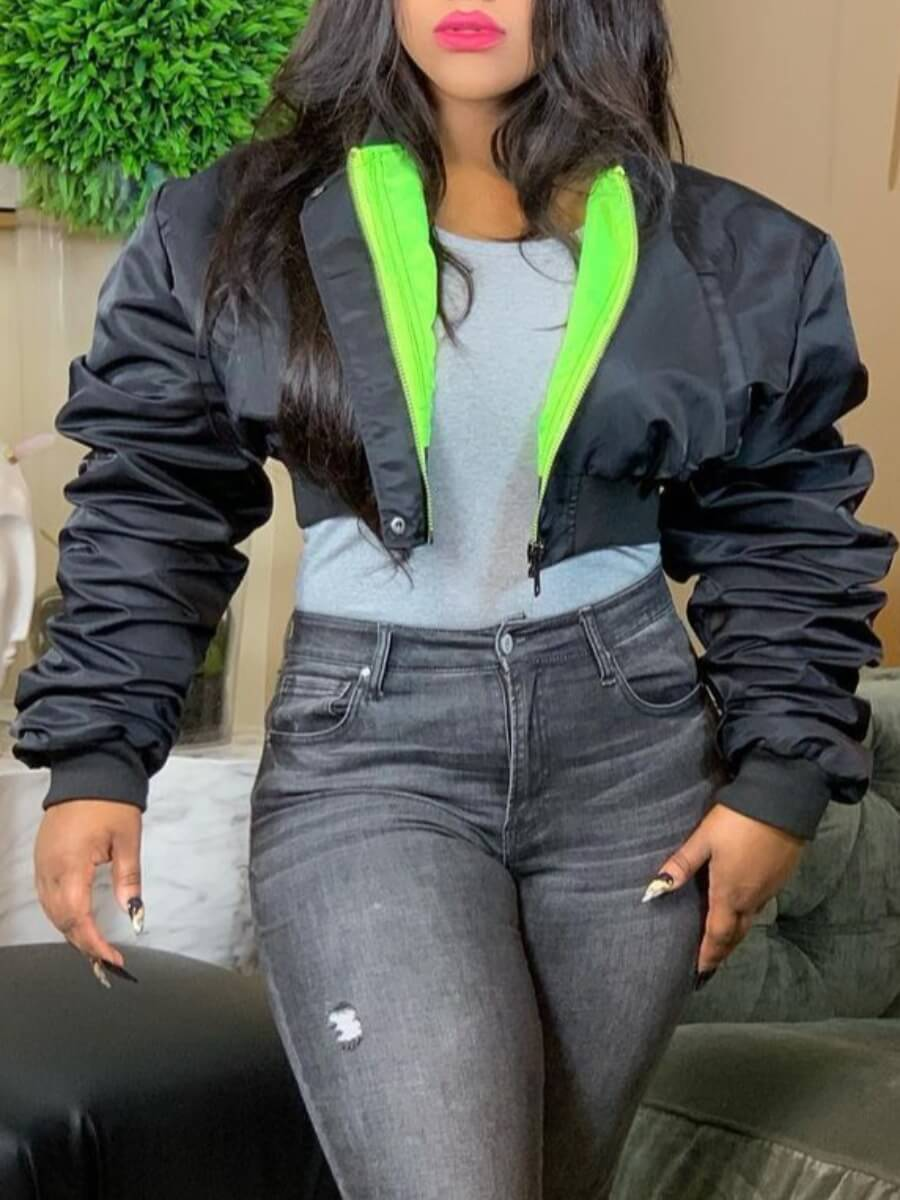 LW Stylish Zipper Design Black Short Parka