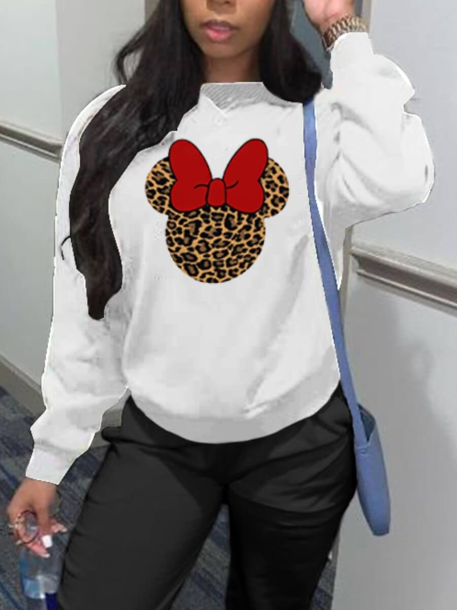 LW Lovely Casual O Neck Print White Hoodie