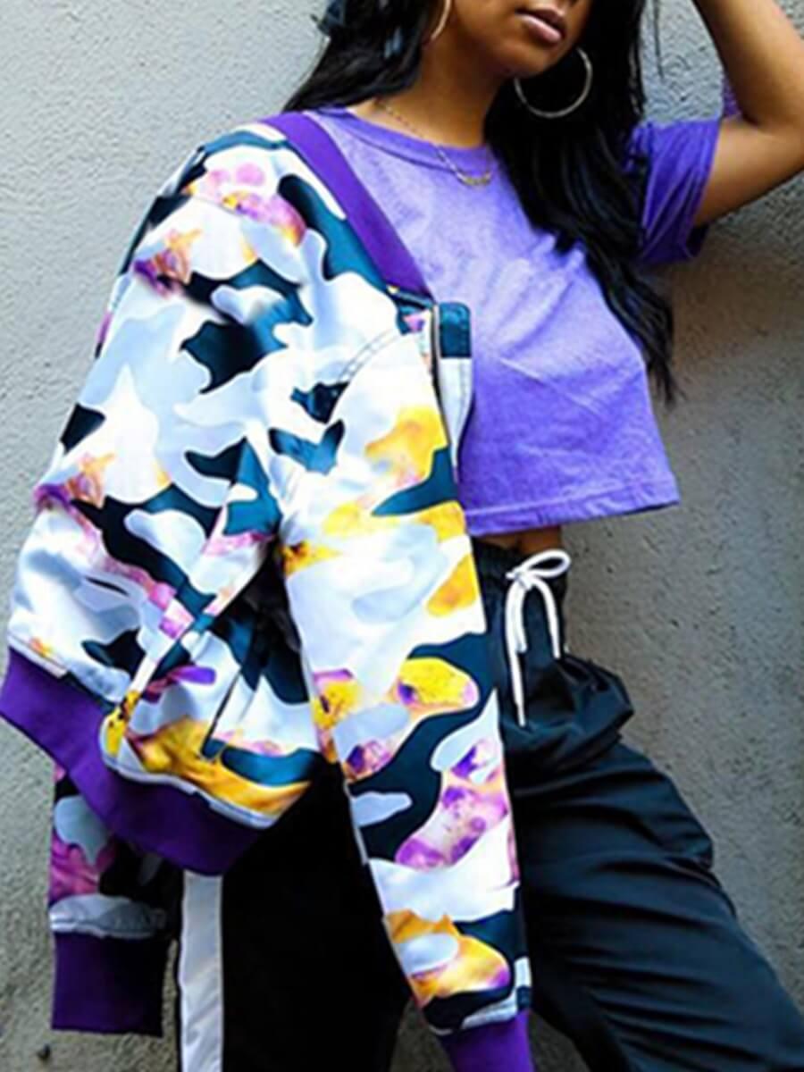 Lovely Casual Camo Print Zipper Design Coat