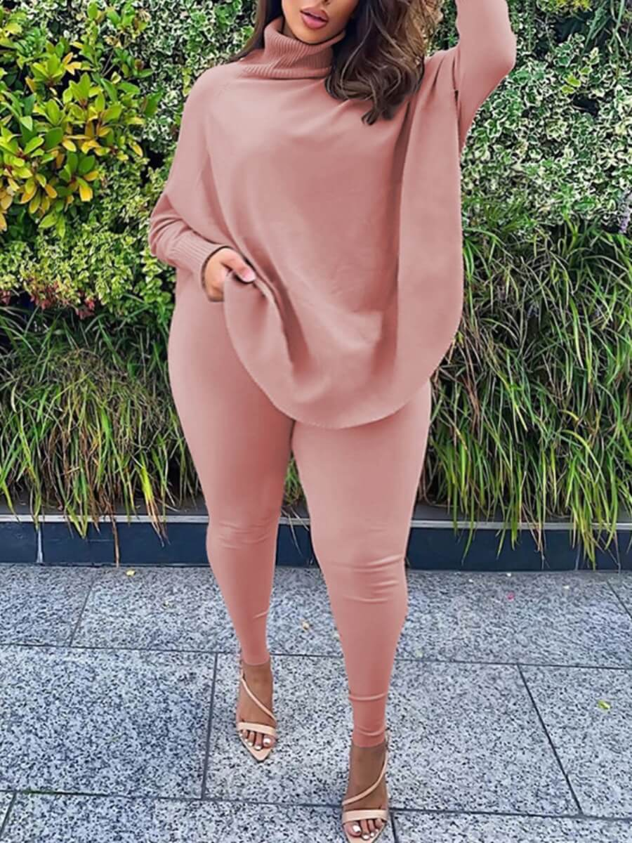 Lovely Casual Turtleneck Loose Pink Plus Size Two-
