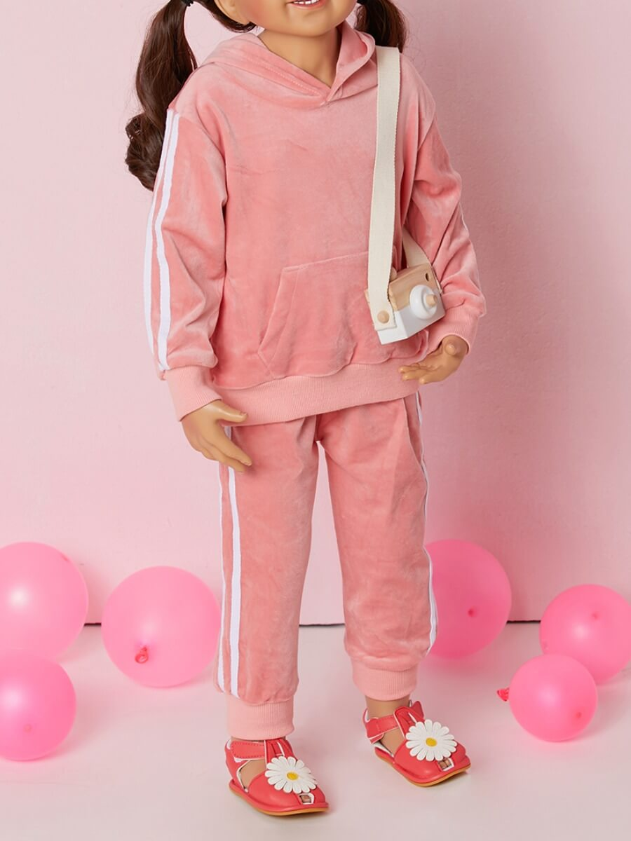 Lovely Sportswear Hooded Collar Patchwork Pink Gir