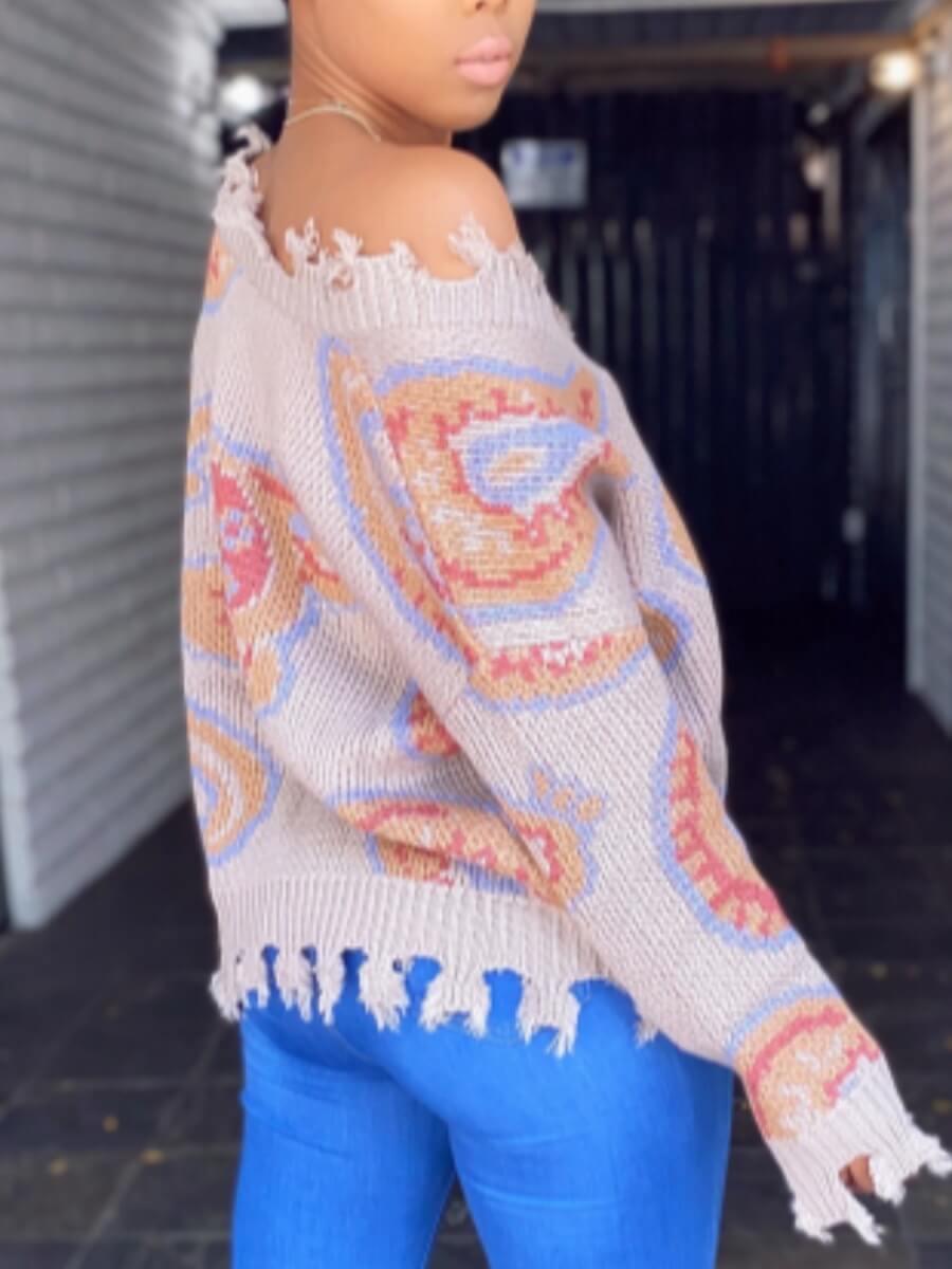 lovely Trendy V Neck Print Apricot Sweater