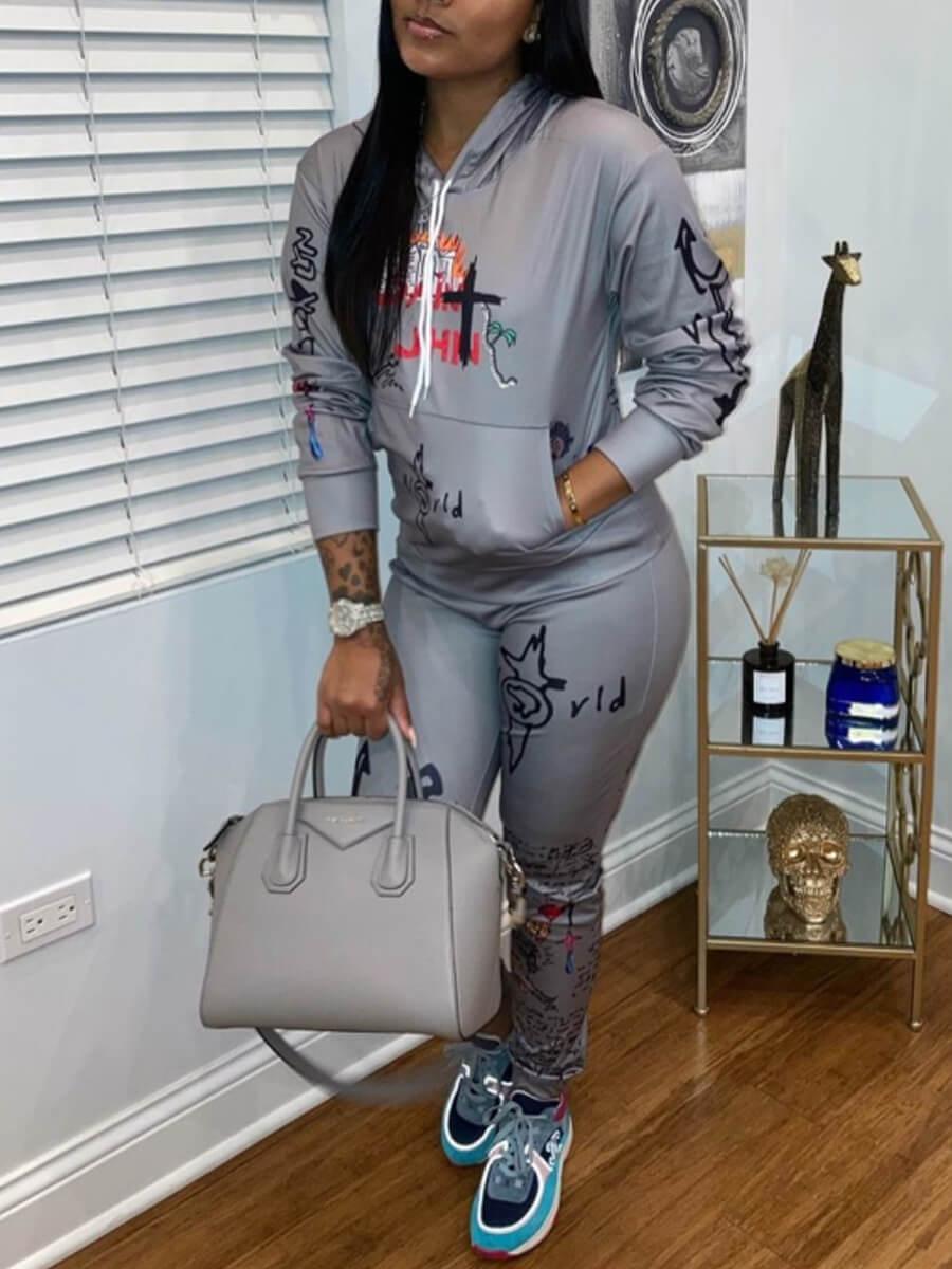 Lovely Sportswear Hooded Collar Print Grey Two Pie