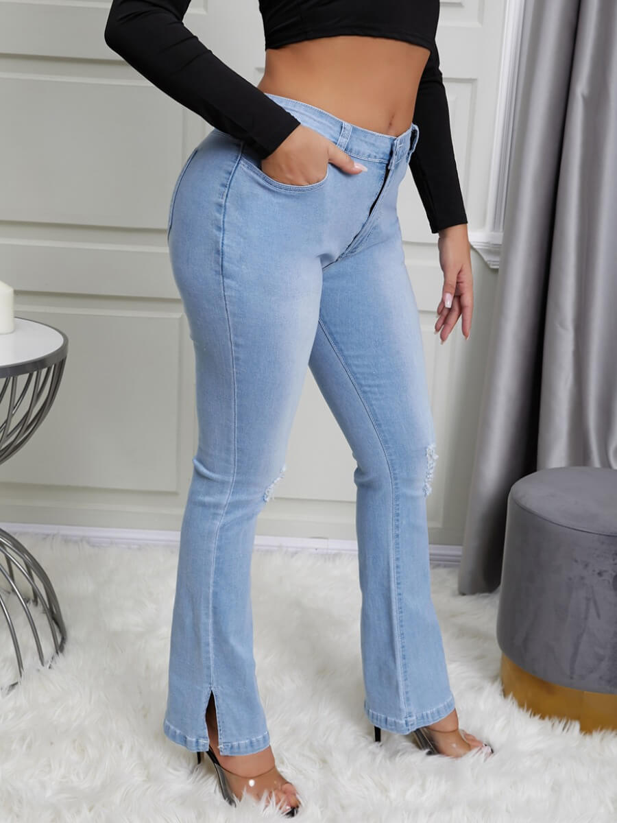 Lovely Trendy Skinny Slit Baby Blue Denim Jeans