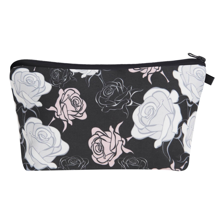 Lovely Trendy Floral Print Black Makeup Bag
