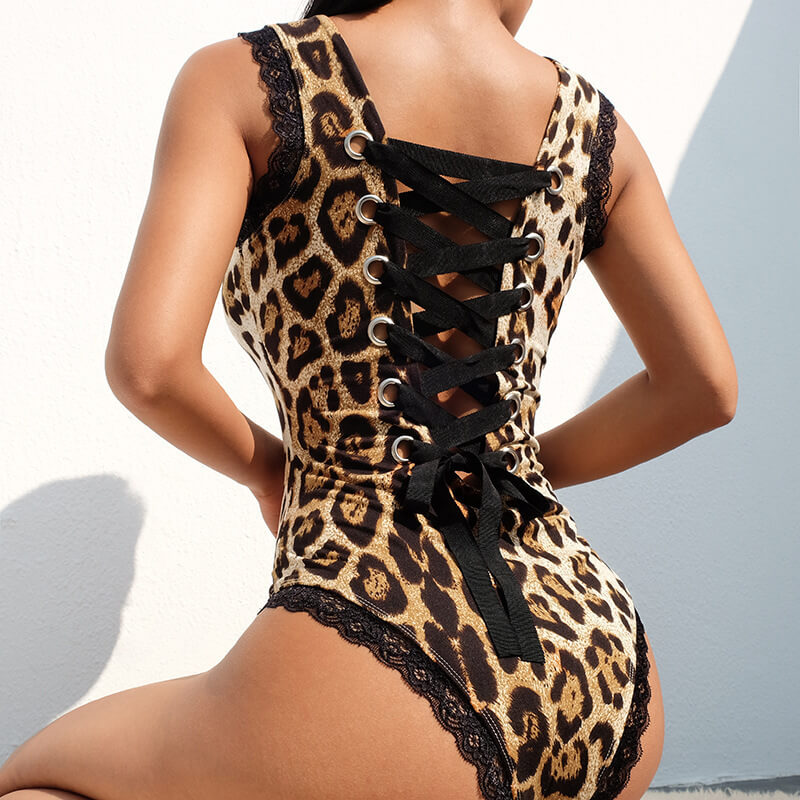 Lovely Sexy Leopard Print Bandage Design Teddies