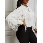lovely Stylish O Neck Tassel Design White Sweater