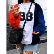 Lovely Casual O Neck Print Patchwork Red Hoodie