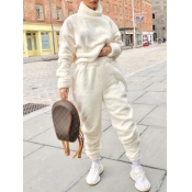 lovely Casual Turtleneck Basic White Two Piece Pants Set