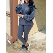 Lovely Casual O Neck Puffed Sleeves Grey Two Piece Pants Set