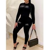 lovely Sportswear O Neck Letter Print Black Two Piece Pants Set