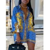 Lovely Casual Turndown Collar Versace Print Blue Mini Dress