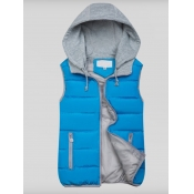 Lovely Casual Hooded Collar Patchwork Blue Waistcoat