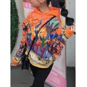 Lovely Casual Hooded Collar Graffiti Print Orange Hoodie