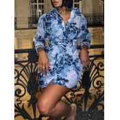 lovely Stylish Turndown Collar Tie-dye Blue Mini D