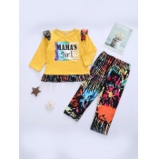 lovely Casual O Neck Print Yellow Girl Two-piece Pants Set