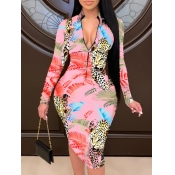 lovely Stylish Print Zipper Design Multicolor Knee